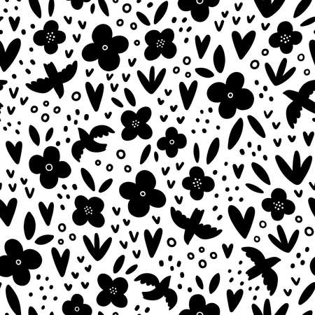 Birds, flowers and hearts, black and white vector seamless pattern, isolated on white background 向量圖像