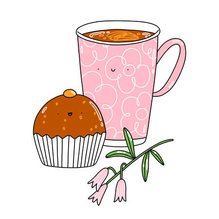 Chocolate cupcake, coffee mug and pink flowers, cute vector cartoon characters, illustration isolated on white background