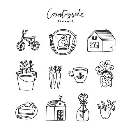 Countryside romance vector doodles collection about farm, fresh vegetables, cozy home, outlined icons set, isolated on white