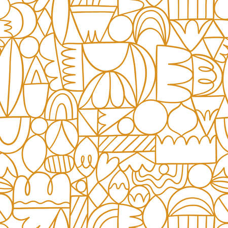Creative thinking, good thinking, golden outline abstract shapes, vector seamless pattern
