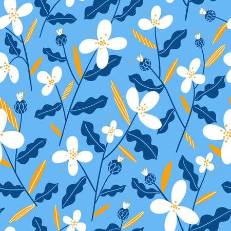 Abstract winter mood white, yellow and blue flowers, vector seamless pattern on light blue background 向量圖像