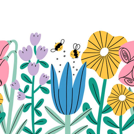 Big cartoon flowers and bees seamless composition, vector repeat border illustration, isolated on white background