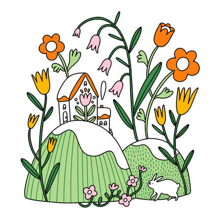 Easter composition, floral spring vector illustration with house and bunny, isolated on white background