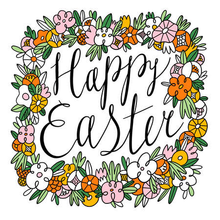 Happy Easter calligraphic black lettering inside beautiful floral frame, vector illustration isolated on white background 向量圖像