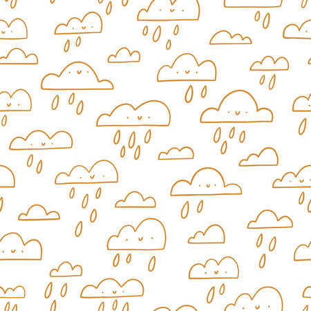 Golden outline happy clouds, rainy weather, vector seamless pattern illustration 向量圖像