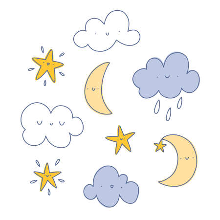 Happy cartoon clouds, raindrops, moon and stars, vector illustrations set, isolated on white background 向量圖像