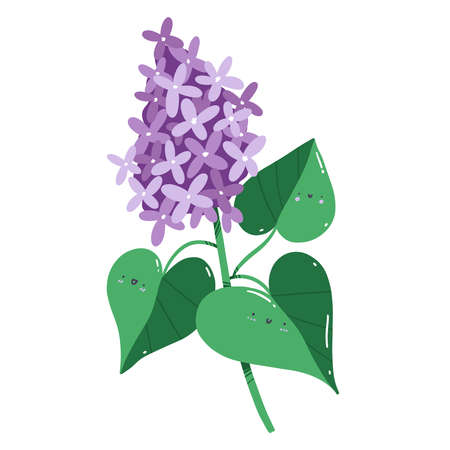 Lilac flowers branch with happy faces on leaves, cartoon character botanical vector illustration, isolated on white background