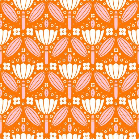 Pink and white flowers symmetric ornament, folk motives, vector seamless pattern 向量圖像