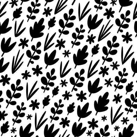Leaves and flowers silhouettes, black and white autumn vector seamless pattern