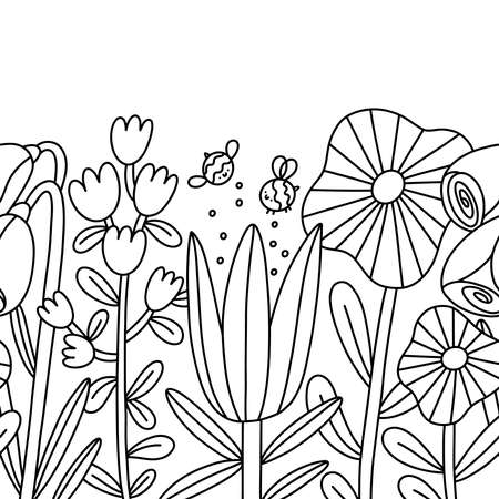 Big cartoon flowers and bees, seamless composition, outline vector border isolated on white background
