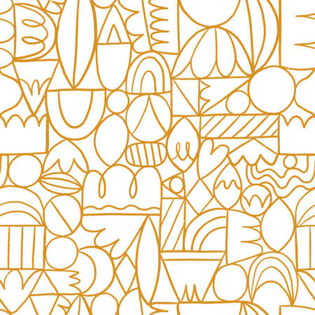 Creative thinking, good thinking, golden outline abstract shapes, seamless pattern illustration 版權商用圖片