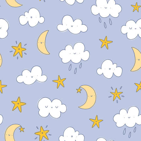 Happy cartoon clouds with raindrops, moon and stars, seamless pattern illustration, nursery background