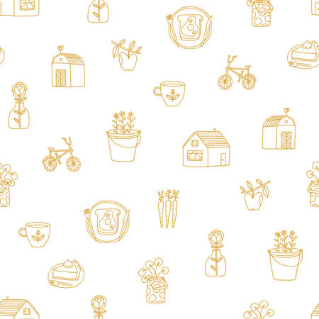 Countryside romance, outline doodles pattern about farm, fresh vegetables, cozy home, golden on white background