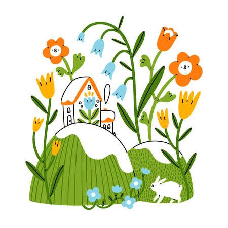 Easter mood, little house on spring hills with bunny rabbit and flowers, vector illustration isolated on white background