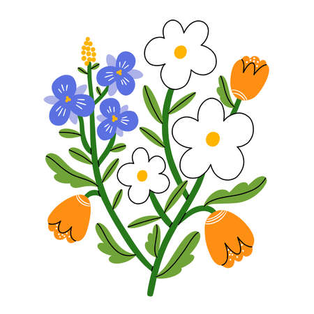 Violet pansy, daisy and tulip flower bouquet, vector illustration, isolated on white background 向量圖像