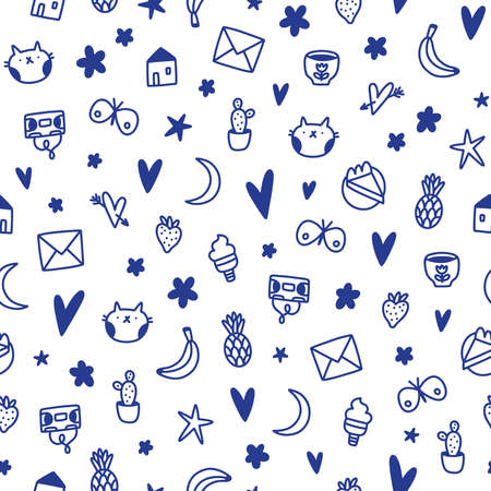 Cute ink doodles, kids nursery, simple and fun vector seamless pattern Ilustrace