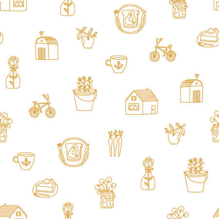 Countryside romance, golden outline doodles, vector seamless pattern on white background 向量圖像