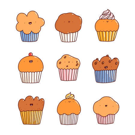 Cartoon cupcakes and muffins cute characters vector set, isolated on white background 向量圖像