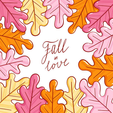 Colorful autumn leaves, fall in love lettering, vector illustration frame isolated on white background 向量圖像