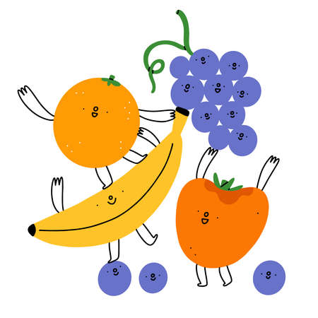 Best friends, joyful cartoon fruits characters, vector illustration isolated on white background