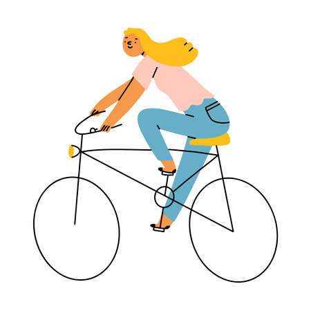 Blond girl riding a bicycle, vector illustration isolated on white background