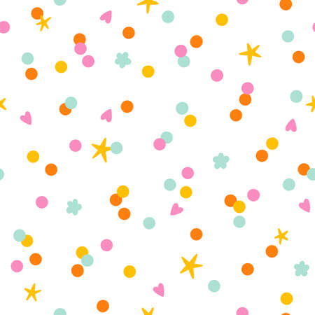 Colorful paper confetti with stars, flowers and hearts, vector seamless pattern on white background
