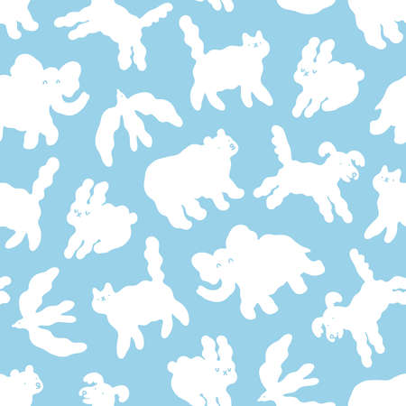 Abstract cloud animals in the sky cartoon, vector seamless pattern on blue background 向量圖像