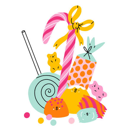 Candy land characters, lollipops, cute jelly candy, chewing gum, vector composition, isolated on white