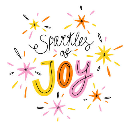 Sparkles of joy, colorful vector lettering illustration isolated on white background 向量圖像