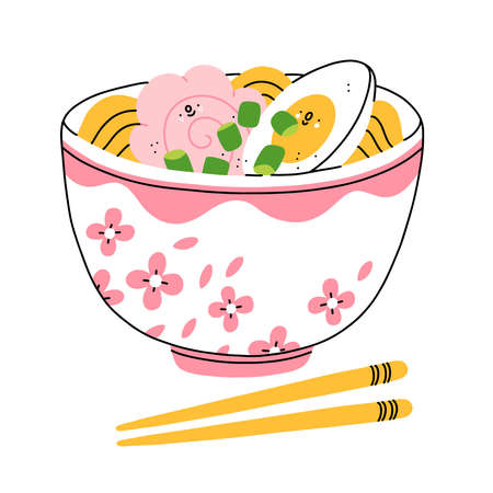 Cartoon ramen bowl with cute shrimp and egg characters, vector illustration isolated on white background 向量圖像