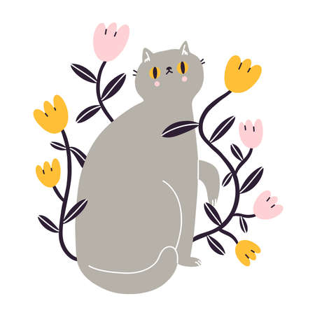 Cute gray British kitty with flowers, vector illustration isolated on white background 向量圖像