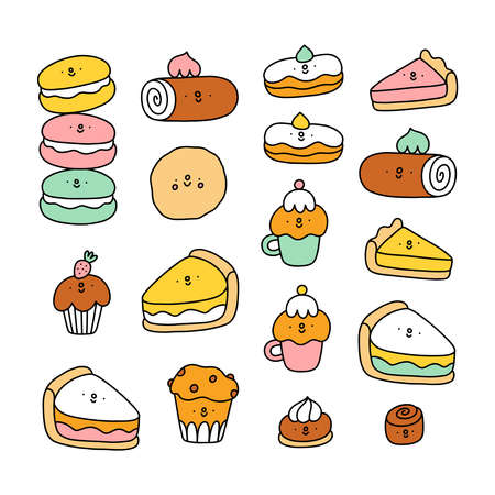 Cute pastry characters, cartoon macarons, cupcakes and cookies illustration collection
