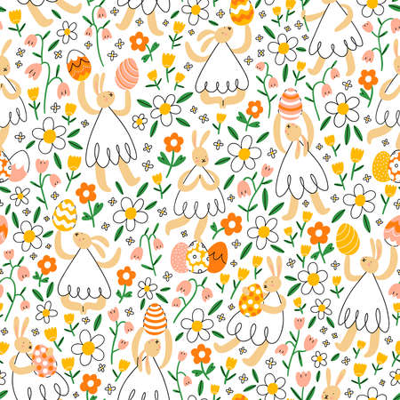 Easter bunnies with eggs in flower field in seamless pattern