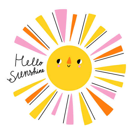 Hello sunshine hand drawn lettering, cartoon sun character with colorful sunbeams, vector illustration isolated on white