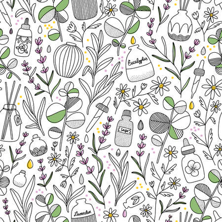 Aromatherapy aesthetic with different oil bottles and plants, vector seamless pattern 向量圖像