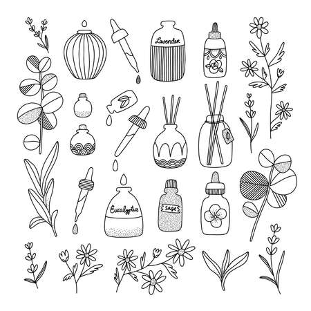 Aromatherapy aesthetic with different oil bottles and plants, vector illustrations set