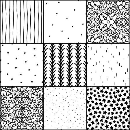 Black and white abstract and simple doodle seamless patterns collection, repeat backgrounds