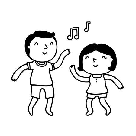 Cute cartoon couple dancing and having fun, isolated vector outline illustration