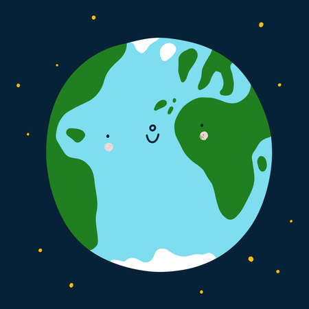 Planet Earth cute and happy cartoon vector character, space illustration, save the Earth 向量圖像