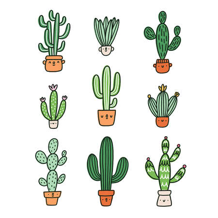 Cute cactus cartoon characters vector collection