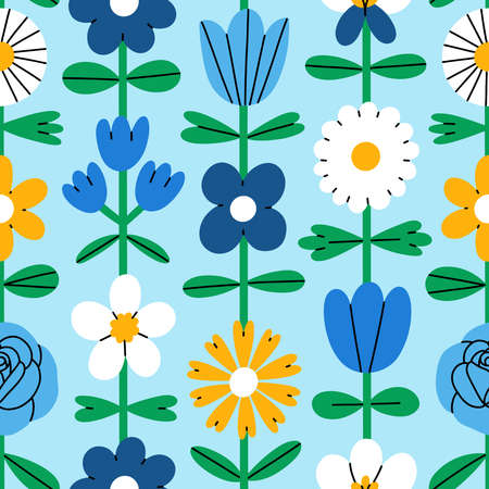 Abstract folk flowers, simple cartoon colorful shapes, vector seamless pattern