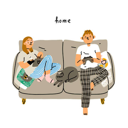 Couple chilling on a couch, cute cartoon people with cat, stay home, vector illustration isolated on white background 向量圖像
