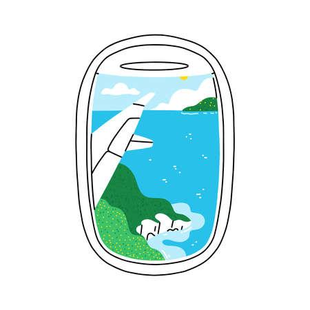 Plane illuminator view on beautiful summer tropical seascape scenery, vector illustration isolated on white background 向量圖像