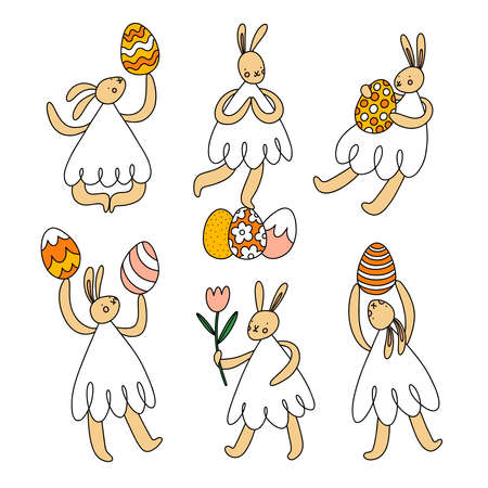 Tender Easter bunnies with eggs and flowers, cartoon characters vector illustrations set, isolated on white background