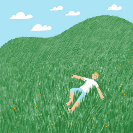 Boy lies in the grass on the hill, summer illustration with blue sky and clouds 版權商用圖片