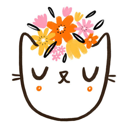 Kitty face with wild flowers, abstract cute cartoon doodle illustration, isolated on white background