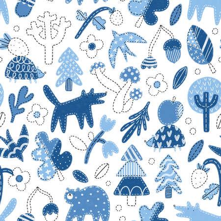 Patchwork denim woodland seamless pattern illustration, blue tone jeans texture, cute nursery forest theme