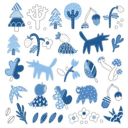 Patchwork denim woodland illustrations set, isolated on white background, cute forest nursery doodles