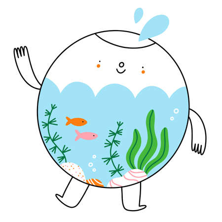 Cute little aquarium character with fish and seaweed, cartoon vector illustration isolated on white background