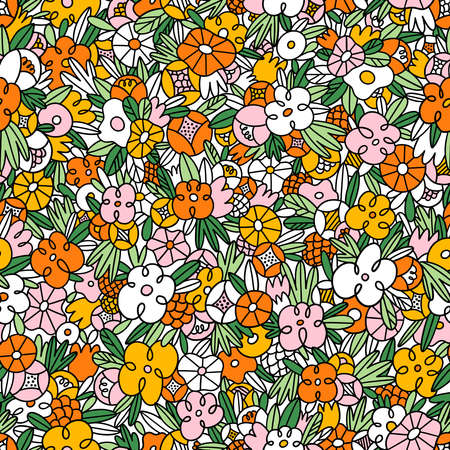 Wild flowers and grass in crazy doodles style, colorful vector seamless pattern